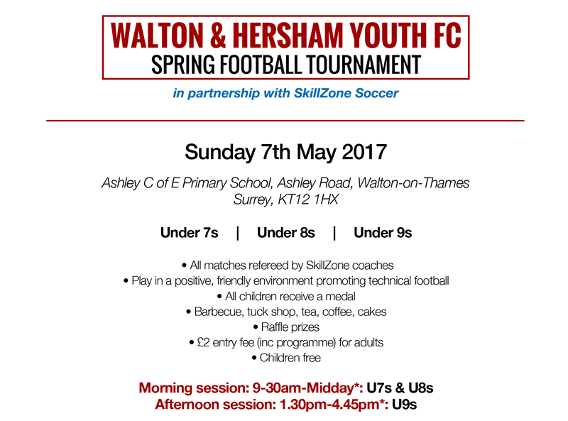 Walton & Hersham Youth FC and SkillZone Tournament info